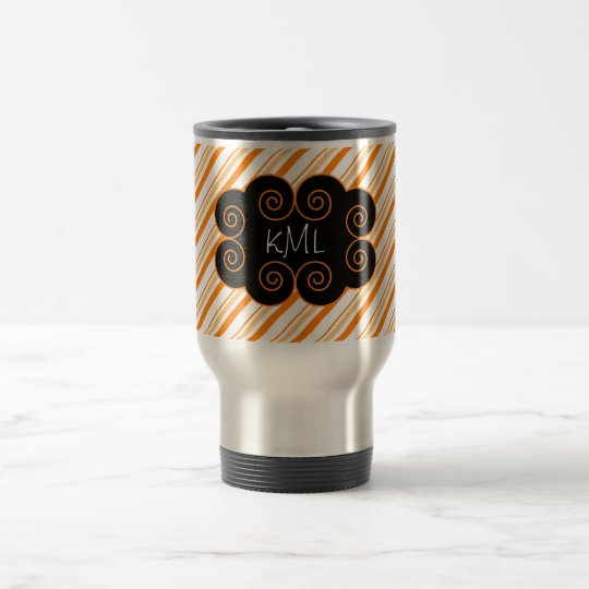 Orange and White Striped Monogramming Tag Travel Mug