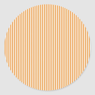 Orange and White Stripes Classic Round Sticker