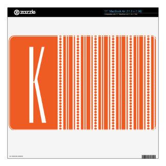Orange and White Stripes Skin For MacBook Air