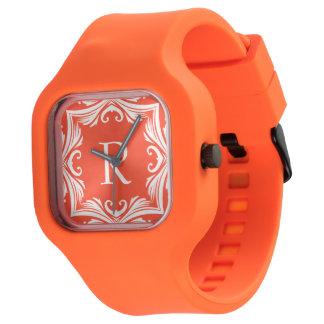 Orange and White Summer Vacation Monogram Watch