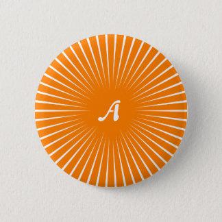 Orange and White Sunrays Monogram Button