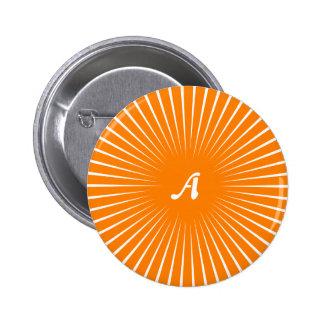 Orange and White Sunrays Monogram Pinback Button