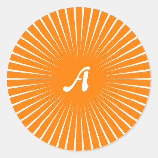 Orange and White Sunrays Monogram Round Sticker