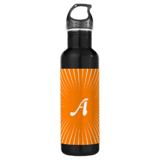 Orange and White Sunrays Monogram Water Bottle