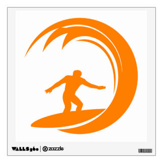 Orange and White Surfing Wall Decal