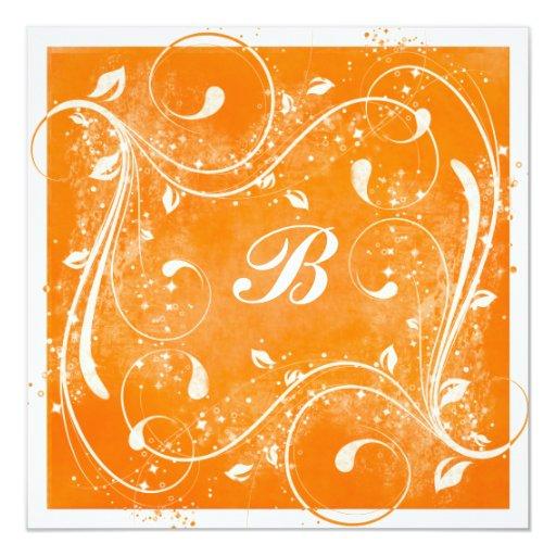 Orange and White Swirls Wedding Invitation