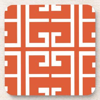 Orange And White Tile Drink Coaster