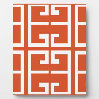 Orange And White Tile Plaque