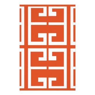 Orange And White Tile Stationery