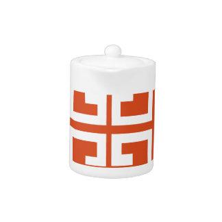 Orange And White Tile Teapot