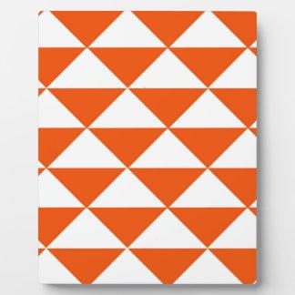 Orange and White Triangles Plaque