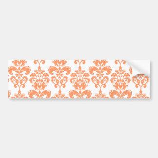 Orange and White Vintage Damask Pattern 2 Bumper Sticker