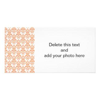 Orange and White Vintage Damask Pattern 2 Card