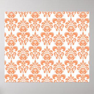 Orange and White Vintage Damask Pattern 2 Poster