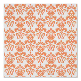 Orange and White Vintage Damask Pattern 2 Posters