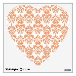 Orange and White Vintage Damask Pattern 2 Room Stickers