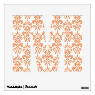 Orange and White Vintage Damask Pattern 2 Room Decals