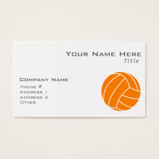 Orange and White Volleyball Business Card