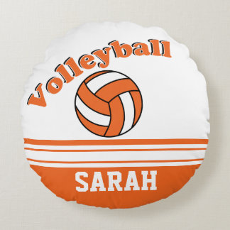 Orange and White Volleyball | Personalize Round Pillow