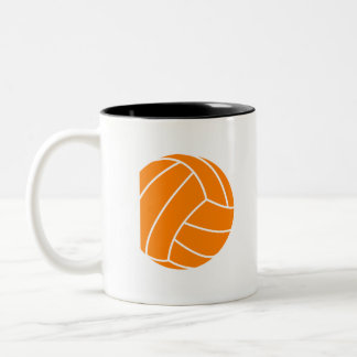 Orange and White Volleyball Two-Tone Coffee Mug