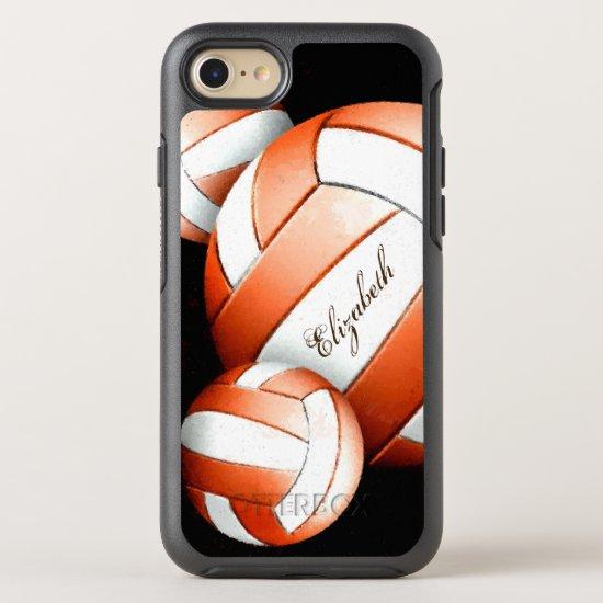 Orange and white volleyballs women's OtterBox symmetry iPhone SE/8/7 case