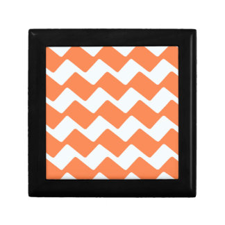 Orange and White Wavy Chevron Stripes Jewelry Box
