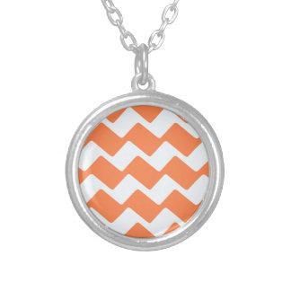 Orange and White Wavy Chevron Stripes Pendant