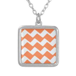 Orange and White Wavy Chevron Stripes Silver Plated Necklace