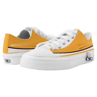 Orange and White with Black Trim Tres Lo-Top Printed Shoes