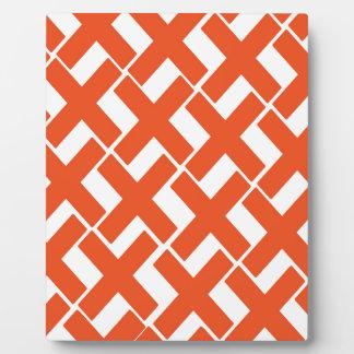 Orange and White Xs Plaque