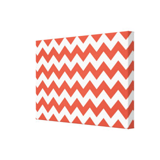 Orange and White Zigzag Stretched Canvas Print