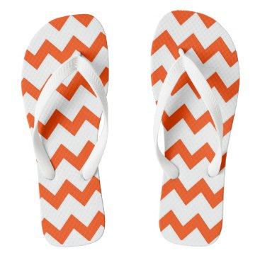 Beach Themed Orange and white zigzag chevron design pastel flip flops