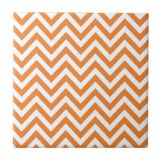 Orange and White Zigzag Chevron Pattern Ceramic Tile