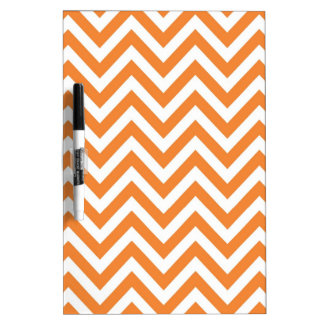 Orange and White Zigzag Chevron Pattern Dry Erase Board