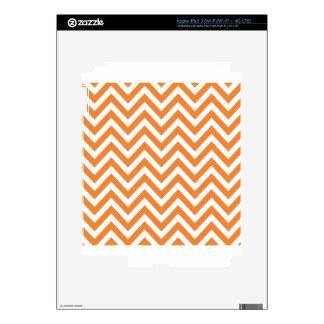 Orange and White Zigzag Chevron Pattern iPad 3 Skin