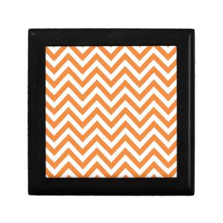 Orange and White Zigzag Chevron Pattern Jewelry Box