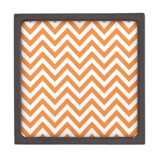 Orange and White Zigzag Chevron Pattern Keepsake Box