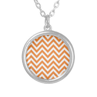 Orange and White Zigzag Chevron Pattern Round Pendant Necklace