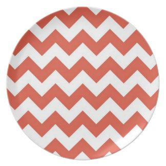 Orange and White Zigzag Melamine Plate