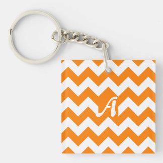Orange and White Zigzag Monogram Square Acrylic Keychains