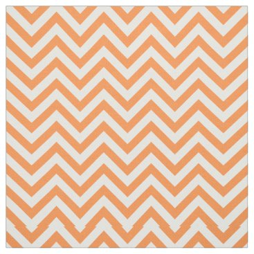 Halloween Themed Orange and White Zigzag Stripes Chevron Pattern Fabric