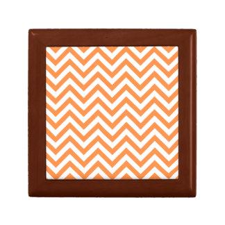 Orange and White Zigzag Stripes Chevron Pattern Gift Box