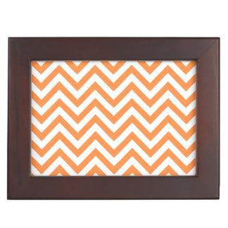 Orange and White Zigzag Stripes Chevron Pattern Keepsake Box
