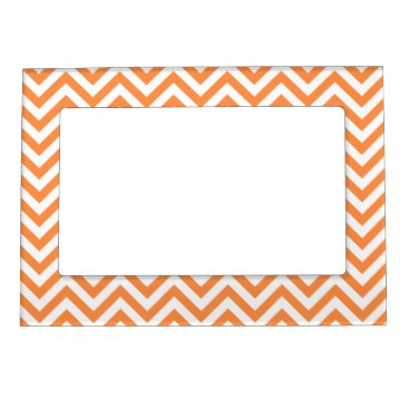 Halloween Themed Orange and White Zigzag Stripes Chevron Pattern Magnetic Photo Frame