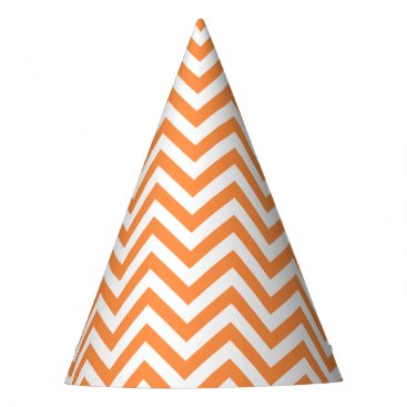 Halloween Themed Orange and White Zigzag Stripes Chevron Pattern Party Hat