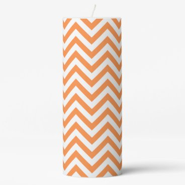 Halloween Themed Orange and White Zigzag Stripes Chevron Pattern Pillar Candle
