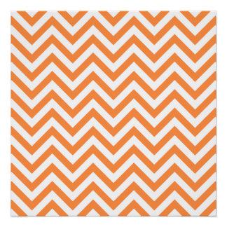 Orange and White Zigzag Stripes Chevron Pattern Poster
