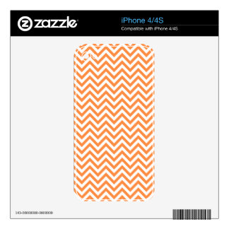 Orange and White Zigzag Stripes Chevron Pattern Skin For The iPhone 4S