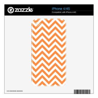 Orange and White Zigzag Stripes Chevron Pattern Skins For iPhone 4S