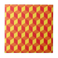 Orange and Yellow 3d Cube Geometric Pattern Tile